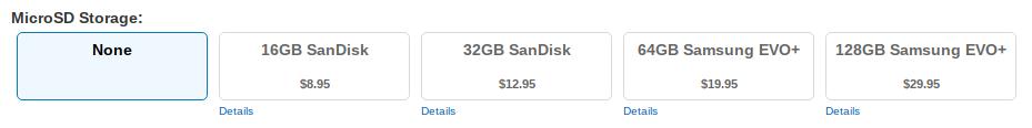 CanaKit MicroSD Storage menu